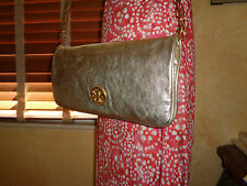 NWT TORY BURCH REVA Clutch/Shoulder/CrossBody Crackle GOLD  $350 DUSTBAG