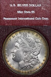 1897 $1 Morgan Silver Dollar Mint State PICC Redfield Pedigree, Toned!