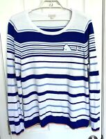 Talbots Womens Whale Sweater Size XL Blue White Striped 100% Cotton Long Sleeve