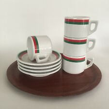 ACF Cappuccino Cups & Saucers, 4 Sets, Made In Italy, Tricolor, Viva Italia!