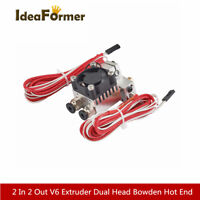 V6 2 In 2 Out Dual Head Bowden Hot End+fan For Chimera Extrude 1.75/3mm filament