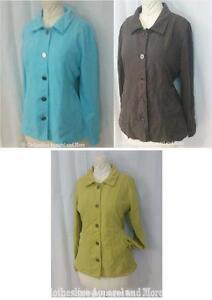 Womens M L XL Knit Jacket Fresh Produce Collar Button Stretch Blue Brown Yellow