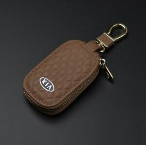 Leather Car Key Protection Bag Car Key Holder Keychain Ring Case Fit for KIA Car