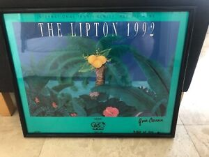 Lipton Open (Miami Open) 1992 Tennis Rare Painting Signed By Artist Gina Carrera