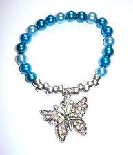 Hermoso Cristal Perlas Pulsera Elástica en aquas Con Brillante Mariposa