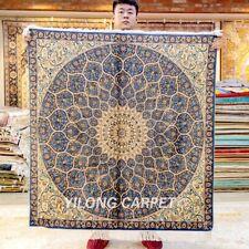 Yilong 4'x4' Blue Medallion Handmade Silk Carpet Square Dome Design Rug Z385A
