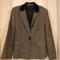 Evan-Picone Womens Blazer Jacket Brown Houndstooth Lined Black Collar Career 12