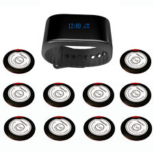 SINGCALL Wireless Calling System of 10 Single Button Bells and 1 Waterpoof Watch