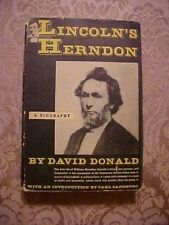 1948 Book, LINCOLN'S HERNDON, A BIOGRAPHY, BY DAVID DONALD, Civil War, History