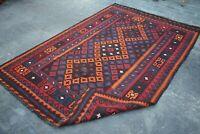 F3224 Vintage Handmade Afghan Tribal Wool Kelim Ghallmori Area Rug 4'9 x 7'4 ft