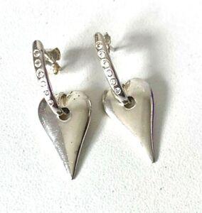 Modernist Solid Sterling Silver HEART & Sparkle Drop Dangle Earrings -Butterfly