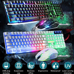 Gaming Keyboard And Mouse Set Rainbow Usb Wired Backlight For PC T6 PS4 Xbox one