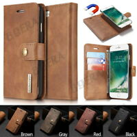 Removable PU Leather Vintage Card Wallet Case Flip Cover Purse For Various Phone