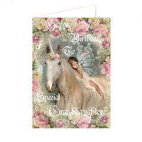 Special Granddaughter birthday card, Unicorn And Girl Fairy, Luxury card Girl