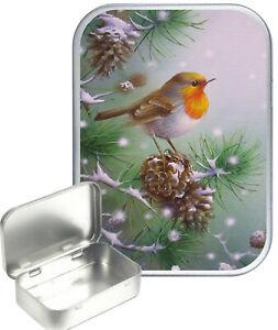 Conifer Robin Small Silver Hinged Gift Tin, 30ml Hinged Tobacco Tin, Craft Tin
