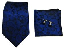 Woven Paisley Jacquard Silk Tie Set Cufflinks and Handkerchief Gift Set Wedding