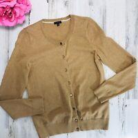 Talbots Cardigan Sweater Size Medium Womens Tan Button Down Long Sleeve