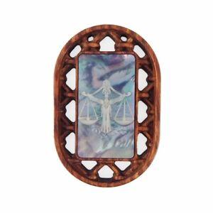 Carved Libra Zodiac & lapis lazuli Bead GE015040
