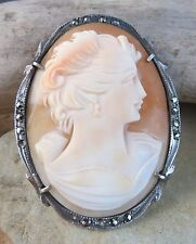 Vintage Pink Shell Marcasite Cameo Maiden Lady Pendant Brooch 800 Silver  #717
