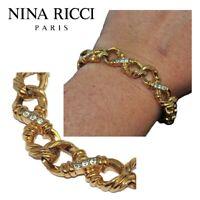 NINA RICCI Bracelet vintage de couleur or cristal blanc 18cm bijou