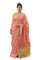 Women Pink Color Cotton Art Silk Saree Hand Woven Sari With Blouse Piece Indian