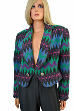 Vintage SOUTHWESTERN Wool Fleece Jacket SW Ethnic Western Native Blanket Coat M