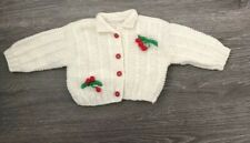 Handmade Crochet Baby Cream Sweater Cherry Detail