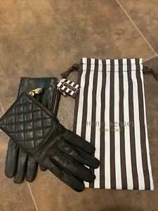 NWT Henri Bendel New York Quilted Zipper Driver Gloves Leather & Cashmere 7.5