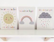 Set Of Three A4 Nursery Prints, Baby, Child's Bedroom Wall Decor
