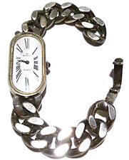 "ANTIQUE OLD GOLANA HEAVY 800 SILVER 7.25"" WOMENS WATCH TIME PIECE BRACELET"