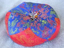 "Round Silk Tibetan Singing Bowl Cushion for Dharma 5 1/2"" Blue and Red"