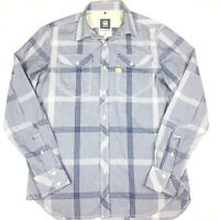 G star raw Mens Long Sleeve Button Up Tacoma Shirt Size Large Blue Check