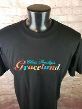 Graceland Elvis Presley Embroidered Rainbow Black Short Sleeve T-Shirt, XXL
