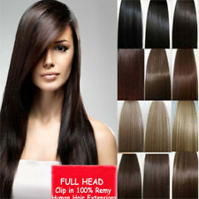 """7pcs set 15"""" 18"""" 20"""" 22"""" Clip In Remy Real 100% Human Hair Extensions Full Head"""