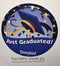 "Disneyland JUST GRADUATED 3"" Button Pin 2016 Disney Souvenir Mickey Graduation"