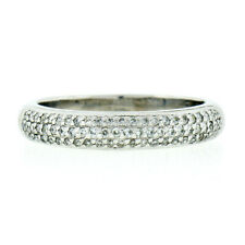 14K White Gold 0.50ctw 3 Row Pave Set Round Brilliant Diamond Domed Band Ring