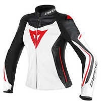 Dainese Assen Jacket Leather Motorcycle Motorbike Jacket NEW Black Red Lady