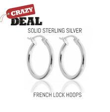 Solid Sterling Silver French Lock Hoop Earrings