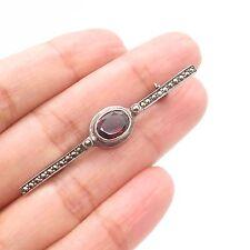 Antq 925 Sterling Silver Real Red Garnet Marcasite Gemstone Pin Brooch