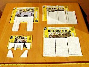 HO Scale Woodland Scenics Tunnel Kit, Retaining Walls Culvert All Loose Unused