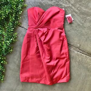 New Davids Bridal Strapless Dress • Guava Coral Pink Satin Pleated • Size 4 $99