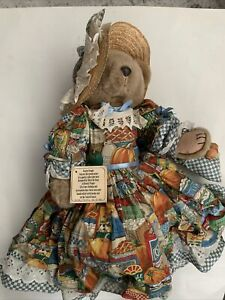 """Vintage 1995 Bearly People Pearly Inc People 18"""" Plush Bear With Hat"""