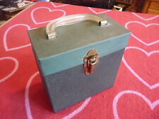 VINTAGE 45 RPM RECORD CARRYING CASE Metal Black & Green Holds Roughly 30