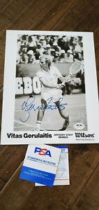 VITAS GERULAITIS SIGNED 8X10 WILSON PHOTO WIMBLEDON AUSTRALIAN US OPEN PSA DNA
