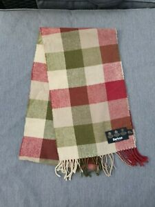 "🐕 BARBOUR 100% LAMBSWOOL Green Red Beige Check Wool Scarf 34"" x 10"" Unisex"