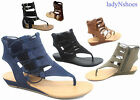 NEW Women's Strappy Gladiator Thong Flat Low Wedge Sandal Shoes Size 6 - 11