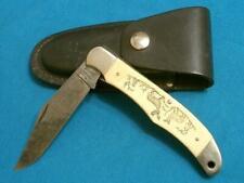 VINTAGE SCHRADE USA SC500 BUCK DEER SCRIMSHAW FOLDING HUNTER BOWIE KNIFE KNIVES