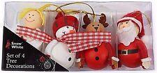 Set di 4 caratteri per albero di Natale Decorazioni Babbo Natale Pupazzo di neve renna angelo in scatola