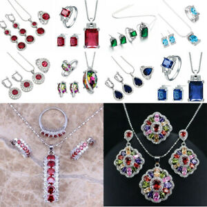 925 Silver Amethyst Heart Flower Pendant Women Necklace Earrings Jewelry Set