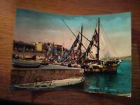 147536 alghero vecchia cartolina barca da pesca in legno  il porto